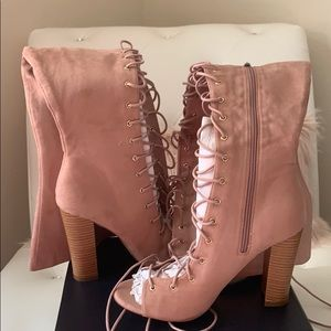 NEW Fashion Nova Pink Lace-Up Over-the-Knee Boots